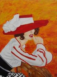 Dame au chapeau rouge, huile