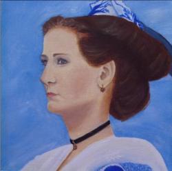 Arlésienne bleue, portrait huile