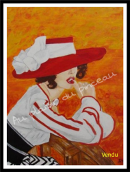 Femme au chapeau, huile