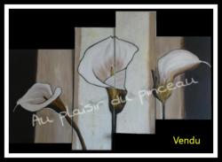 Triptyque arums, acrylique